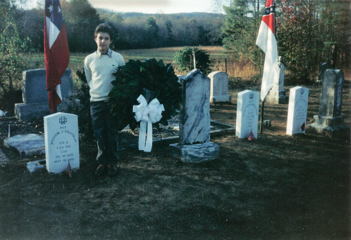 Me posing with the wreath I placed at William Jack Chapman's grave at the dedication of his Civil War marker in 1991