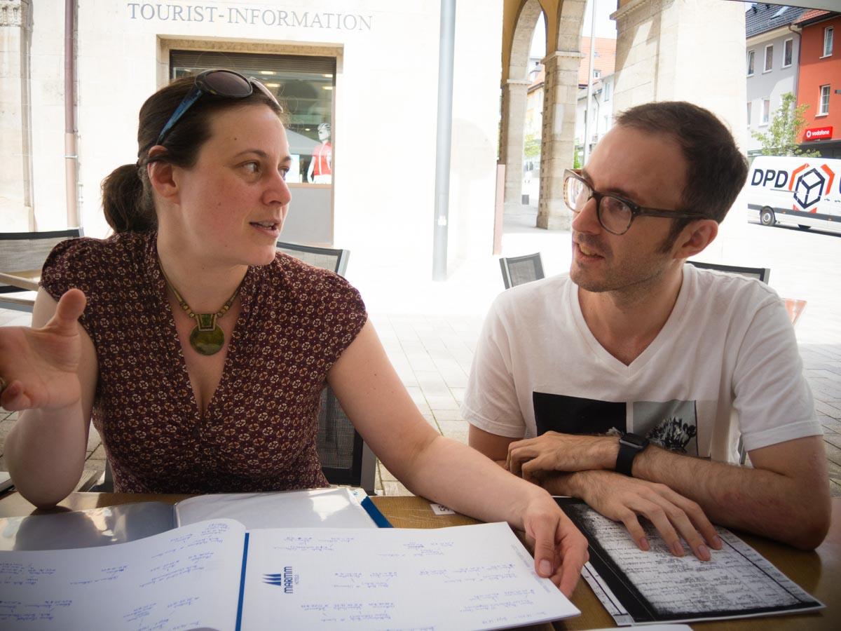 Kathrin and Jordan doing research in Ebingen