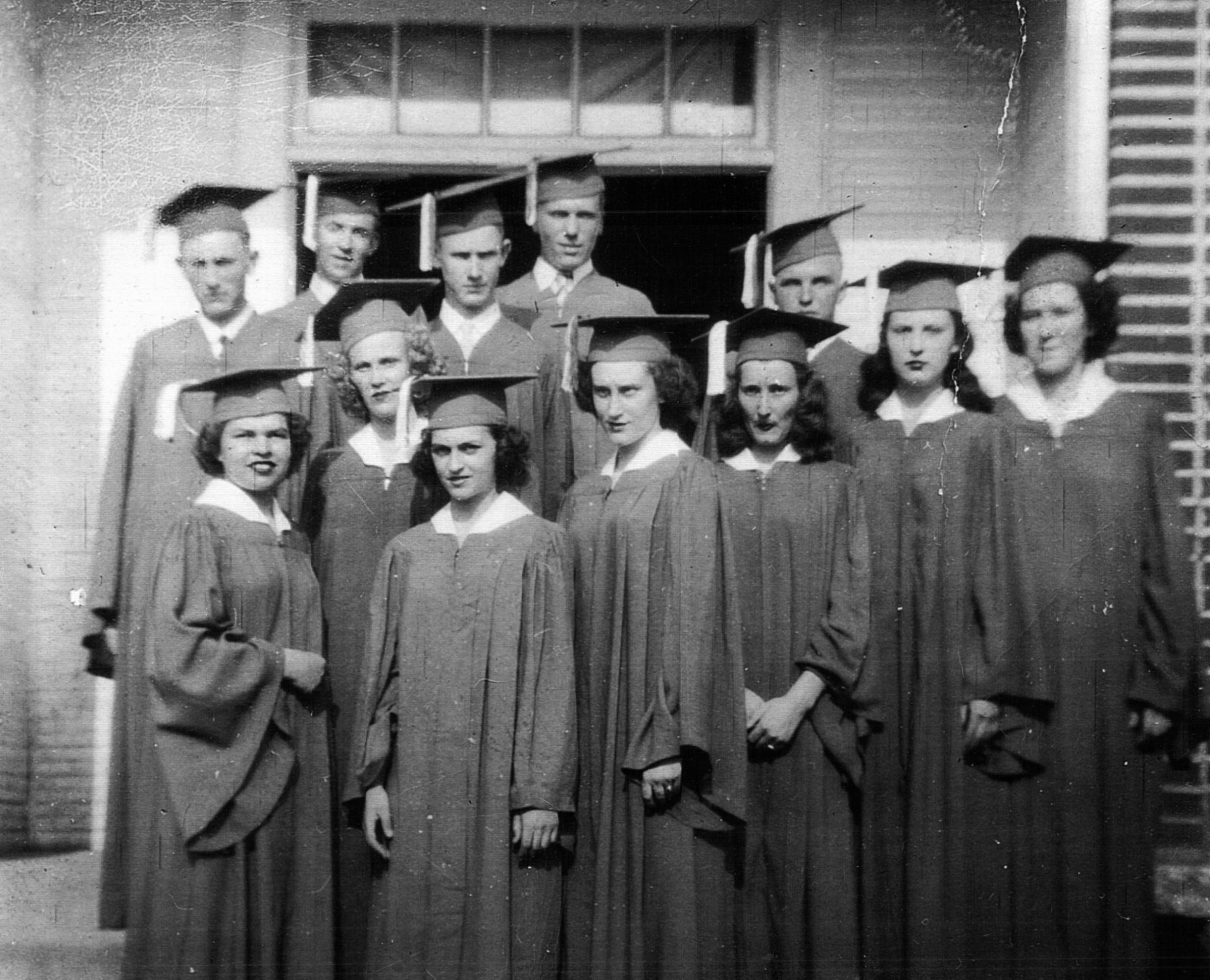 L to R. Back Row: Doyle Milstead, Guy Pope, Billy Scoggins, Hubert Teems, Jerry Perkins. Front Row: Ruby Scoggins, Thelma Kinsy, Laura Brock, Charlene Roper, Esther Seritt, Louise Roper, Eunice Johns.