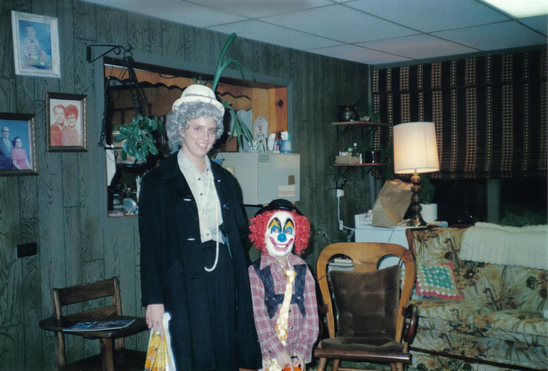 Julie and Jordan Scoggins dressed up for Halloween, 1986