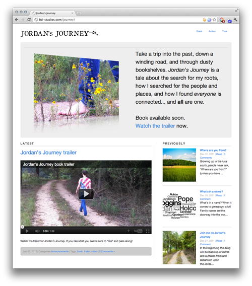 Jordan's Journey webpage screenshot