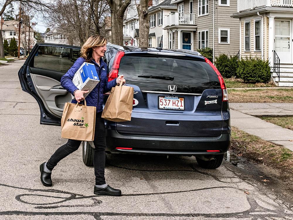 Volunteer Service Delivering Groceries, Belmont, MA April 2020