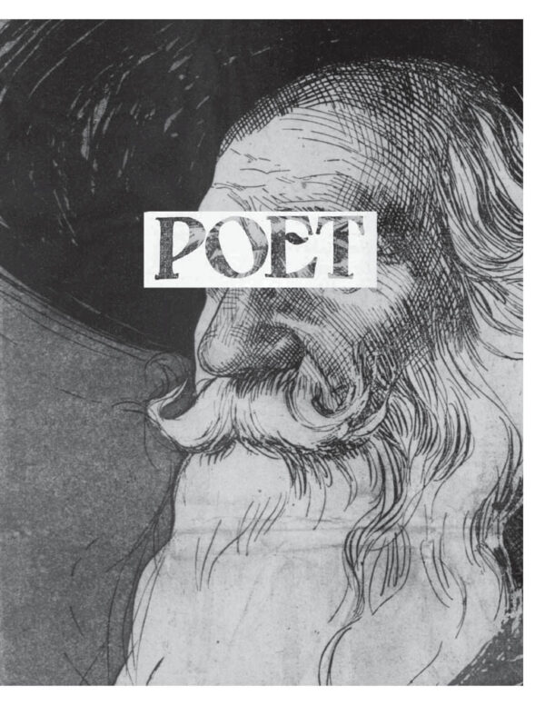 """Cover of """"poet zine"""" showing an antique newspaper illustration of an old man with a beard"""